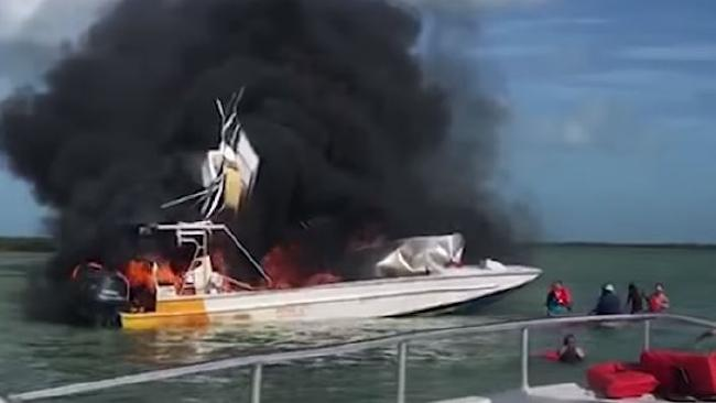 A tour boat has exploded in the Bahamas, killing a female tourist. Picture: YouTube