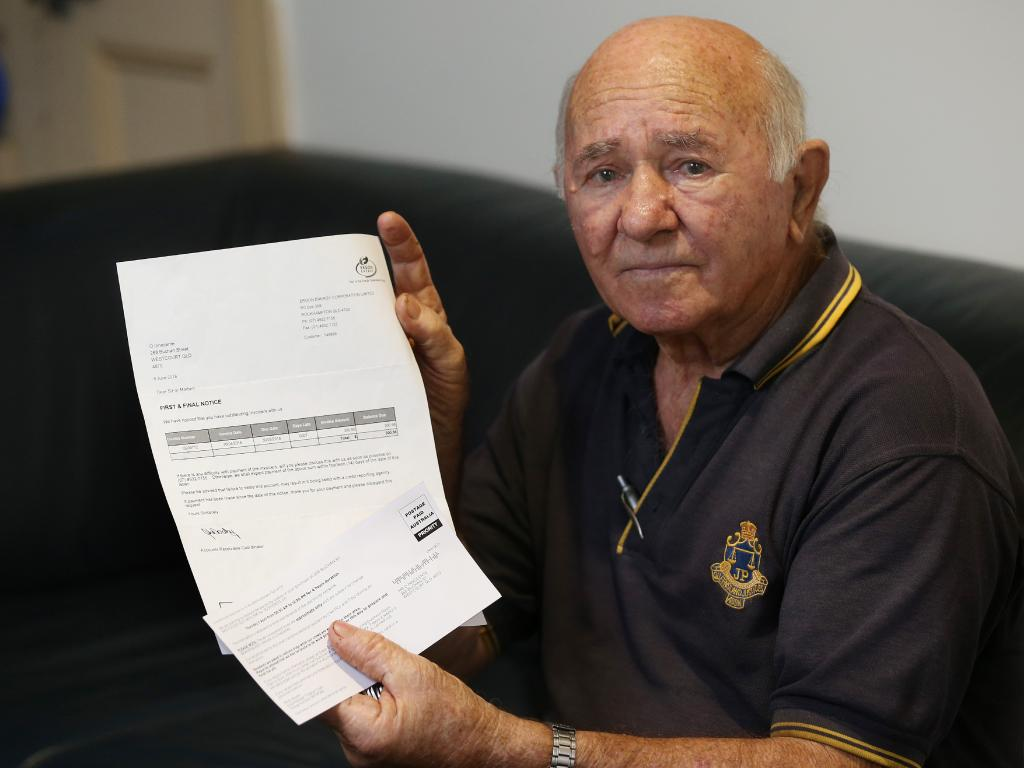 West Court Oliver Innocente with an invoice for $300 and a disconnection notice From Ergon to reset a circuit breaker that tripped after ergon conducted power line work. PICTURE: STEWART MCLEAN