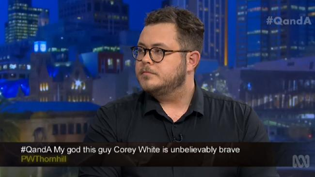 Comedian Corey White made a shocking revelation on ABC's QandA about getting raped during his shocking childhood in foster care.