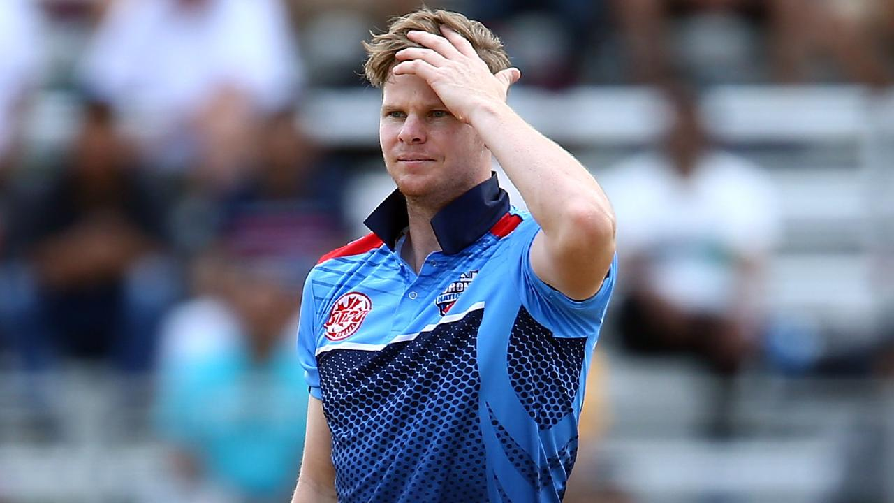Steve Smith of Toronto Nationals reacts after being hit for six while bowling during a Global T20 Canada match against Winnipeg Hawks. Picture: Getty Images