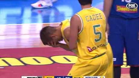 Sobey tries to recover after the hit. Picture: Fox Sports