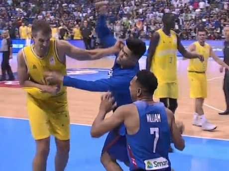 Fight breaks out between Australia and the Philippines in basketball. Picture: Fox Sports
