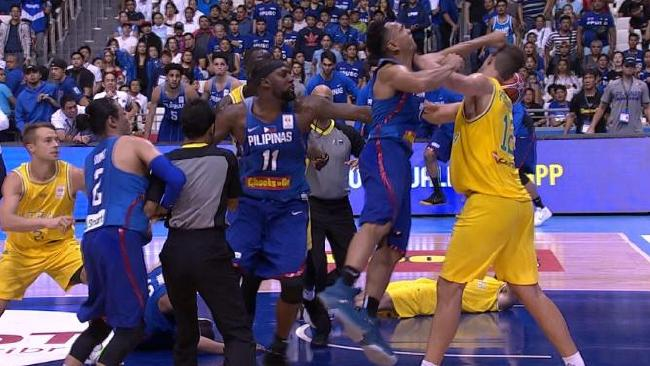 An all-out brawl broke out between Australia and the Phillipines. Picture: Fox Sports