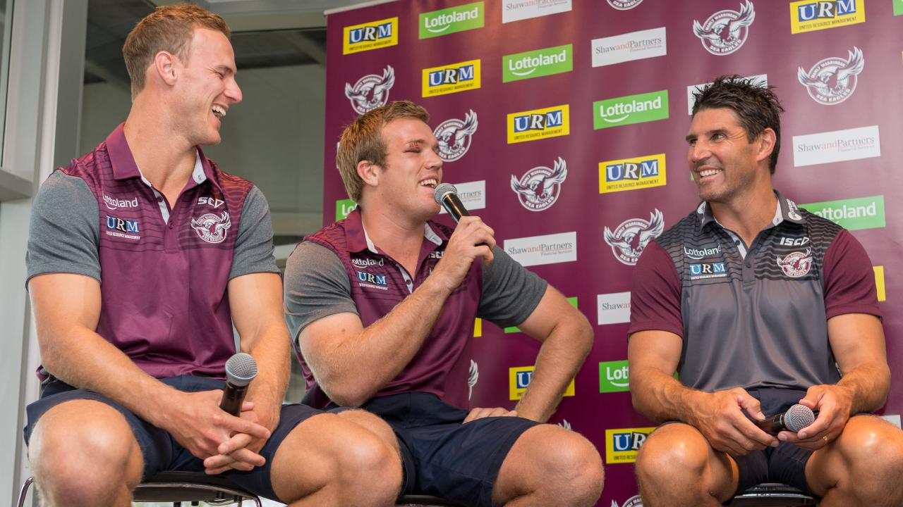 Daly Cherry-Evans, Jake Trbojevic and coach Trent Barrett hold court on Season Launch Fan Day at  Brookvale in February. Picture: Rafal Kontrym/AAP