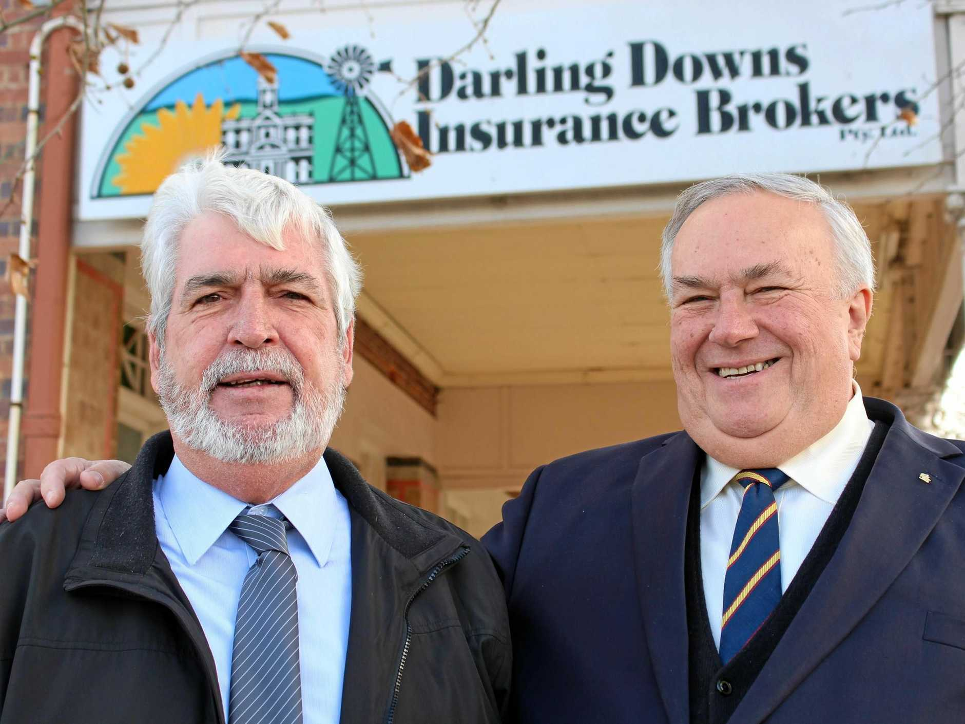 BROKERING BUDS: Peter McKenzie and Paul Munson went out on a limb to start Darling Downs Insurance Brokers 27 years ago but tomorrow they're saying goodbye to loyal clients from over the years as they both retire.