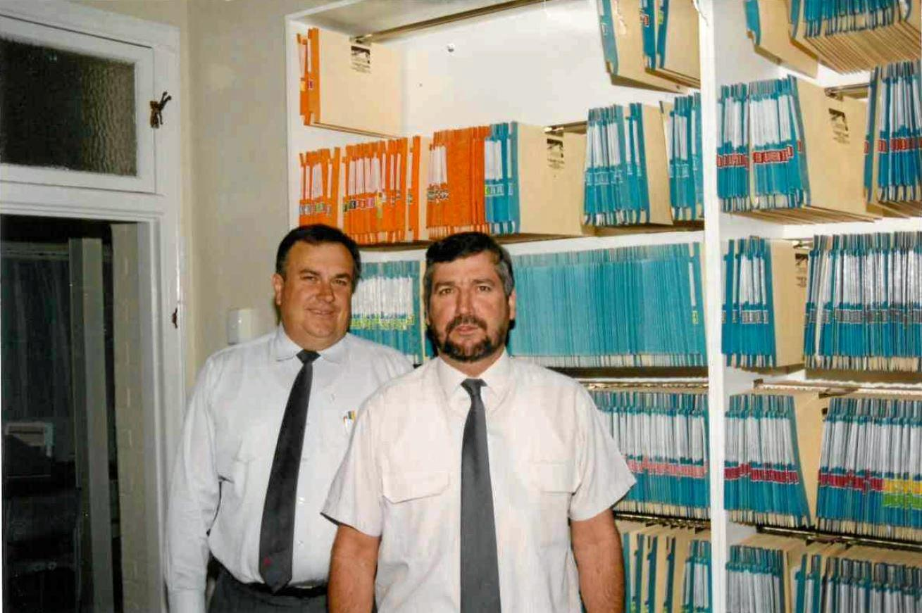 BEGINNINGS: Peter McKenzie and Paul Munson in the early days of their business, Darling Downs Insurance Brokers.