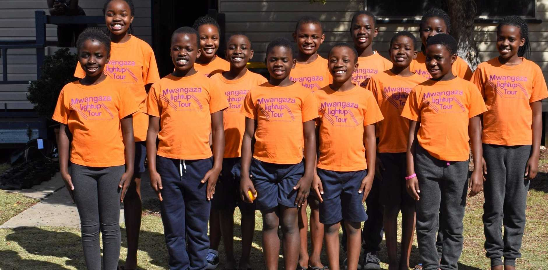 Some of the members of the Mwangaza Children's Choir who performed in Chinchilla on Sunday July 1, 2018.