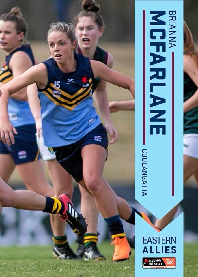 Clarence Valley products Brianna McFarlane and Georgia Breward are two rising stars who play for Coolangatta Bluebirds in the Queensland Women's AFL.