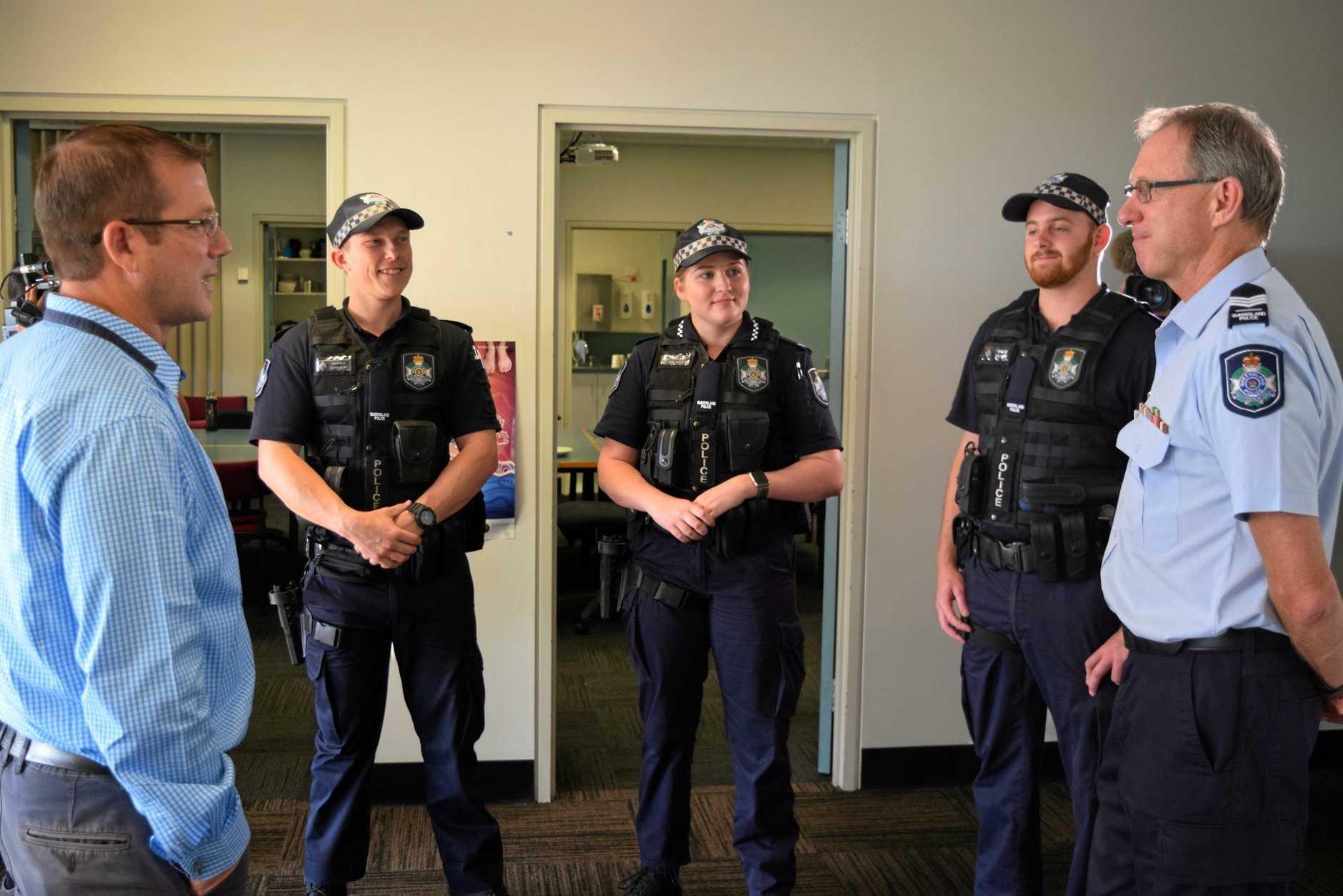 NEW POLICE: David Batt MP, Constable Cameron Bass, Constable Hayden Busk, Constable Maddy Strohfelde and Acting Inspector Glenn Cameron.