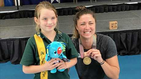 Commonwealth Games gold medallist for hockey Grace O'Hanlon with Zuleika-Paige Shemlowski of Albert State School.