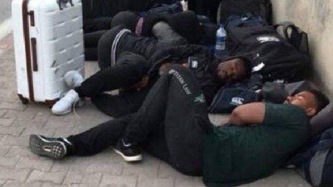 The Zimbabwe rugby team spent a night sleeping on the streets of Tunisia.