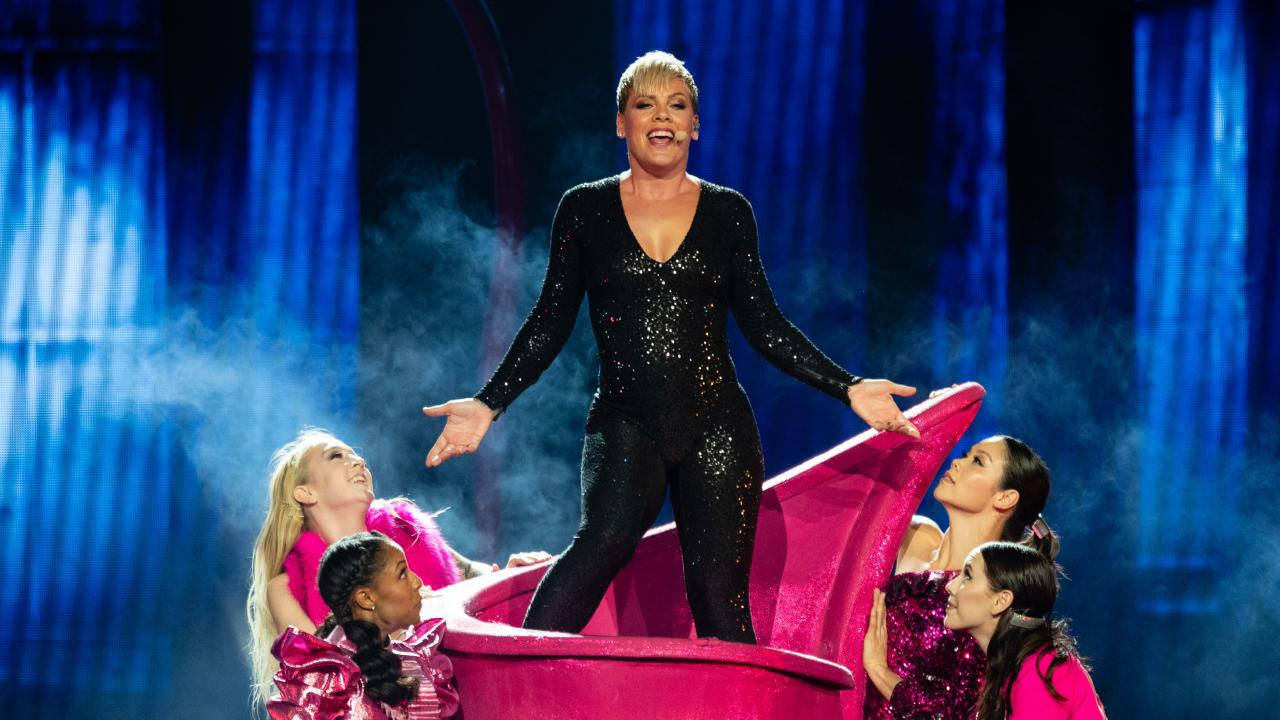 American singer Pink performs in the first Australian concert of her Beautiful Trauma World Tour at Perth Arena in Perth. Picture: AAP/Richard Wainwright