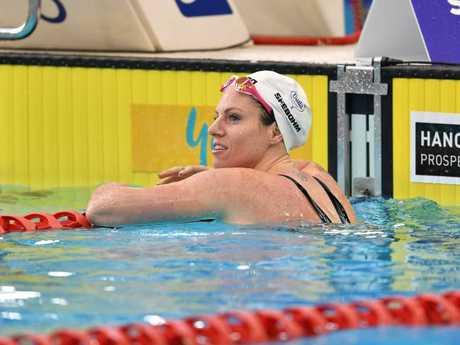 Emily Seebohm looks on after her 100m backstroke heat. Pic AAP