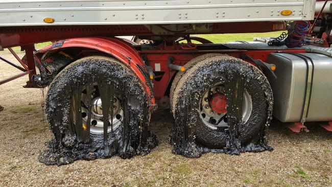 A truck driver was forced to abandon his vehicle outside the Jaggan Hall after the tyres were gummed up with tar driving along Millaa Millaa Road.