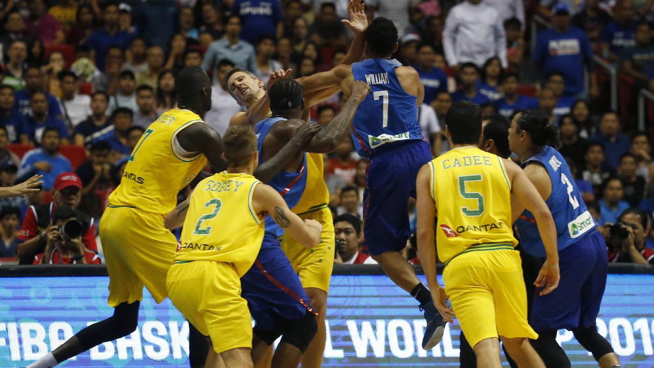 The fight erupted after Daniel Kickert elbowed a Philippines player in the head. Picture: AP