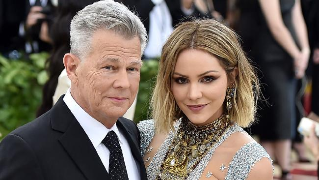 Newly engaged couple, Katharine McPhee and David Foster. Picture: Getty