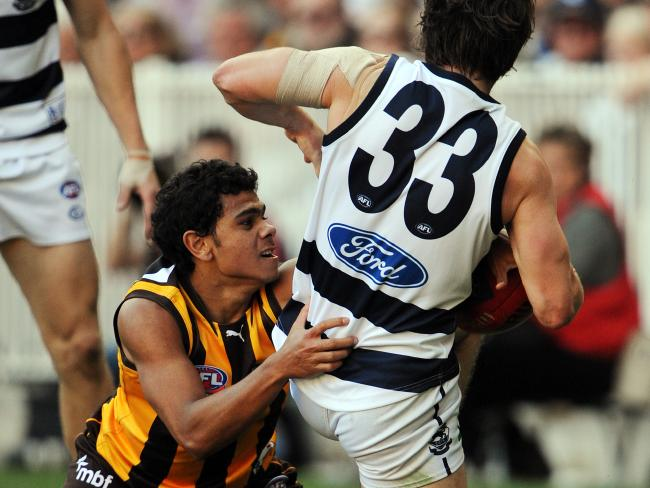 Cyril Rioli's massive tackle on Max Rooke in the 2008 grand final typified his unbelievable pressure.