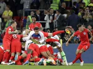 Crowd erupts after England win