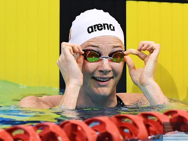 A pleased Cate Campbell after winning the women's 50m freestyle. Picture: AAP