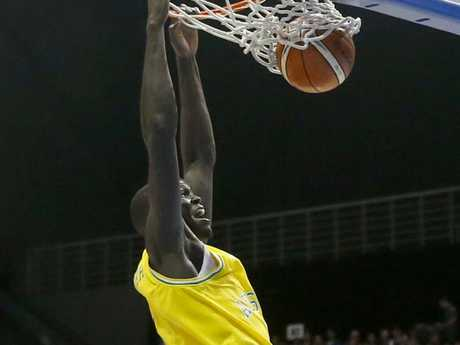 Thon Maker had a memorable first time on the road with the Boomers. .