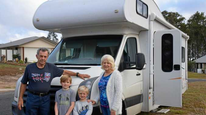 GREY NOMAD TAX: Bernie Stafford and Kathy Collins, pictured with their grandchildren Kian and Oliver, say grey nomads support small towns so the last thing the government should do is hit them with another tax.