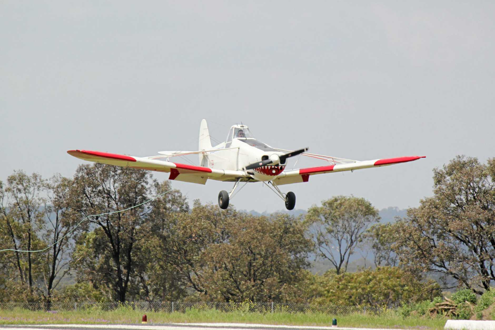 LANDING: A tug flying in after launching a glider. Photo Shannon Newley / Warwick Daily News