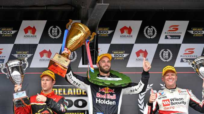 David Reynolds, Shane van Gisbergen and Garth Tander celebrate on the podium at the Adelaide 500 on March 4. Picture: David Mariuz