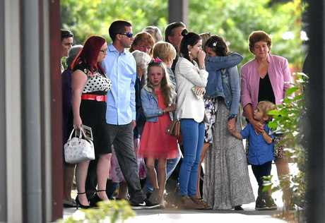 Family and friends are seen at the funeral for  Indie Armstrong. Photo: AAP Image/Darren England