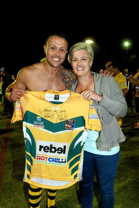 THE PRINCE: 300-game player Scott Prince played in a Legends of League match at Hervey Bay last year. Megan Hill didn't hesitate to bid $450 to win his jersey.