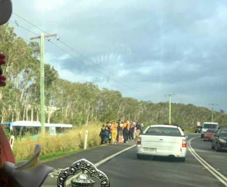 CRASH: Bus crash at Mount Coolum on David Low Way.