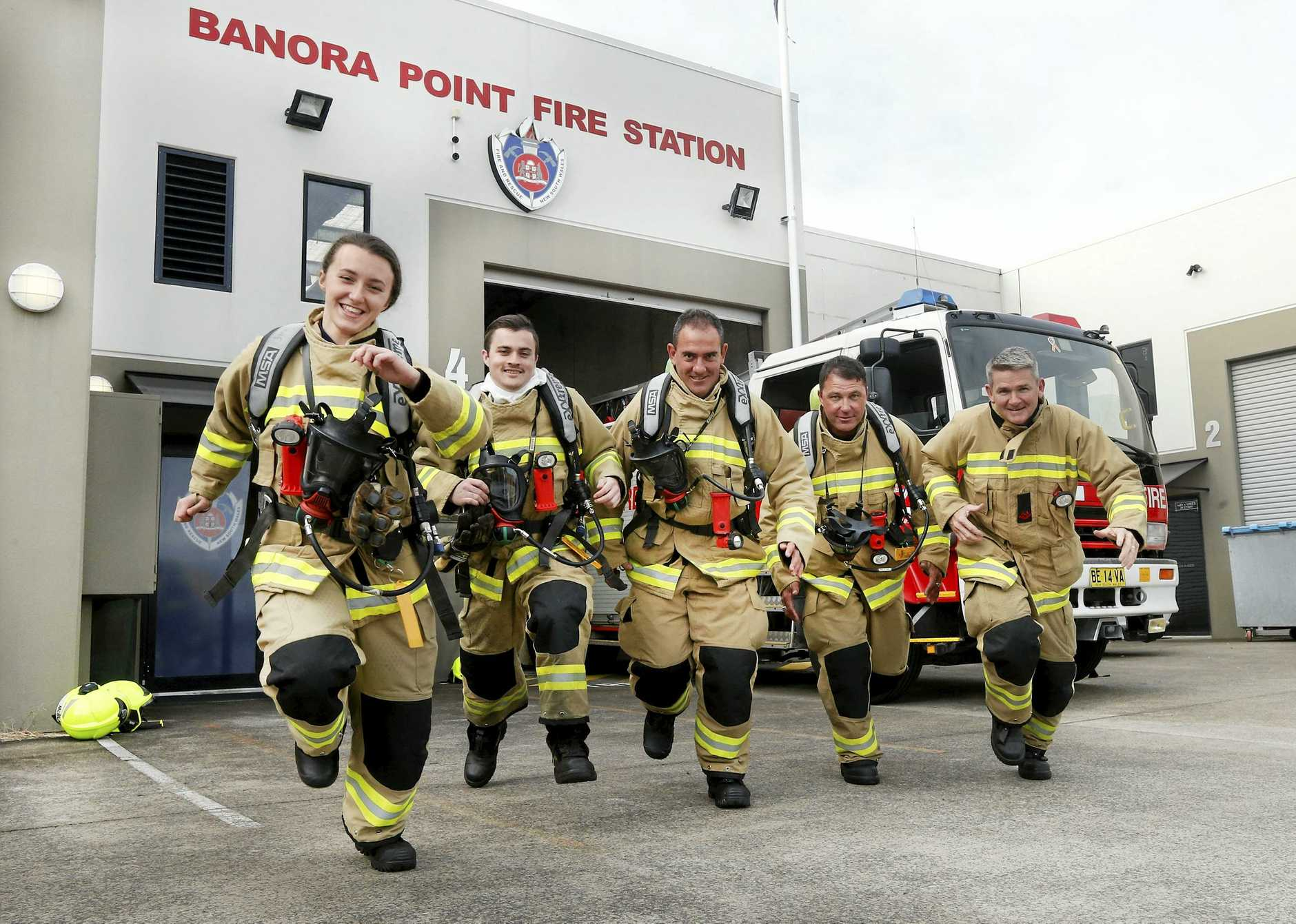 Banora fire-fighters Cyndell McBlain, Jamie Bowe, Rob Dascoli, Jason Williams and Paul Wills are climbing the Sydney Eye for charity in October.