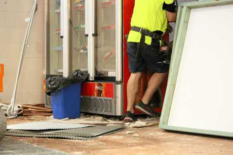 Workers cleaned up the scene at Rose City Carvery this morning.