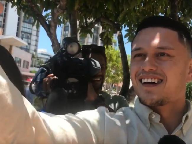 Caleb Maraku walked from court laughing and taking selfies.