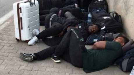 The Zimbabwe rugby team spent a night sleeping on a Tunisian street.