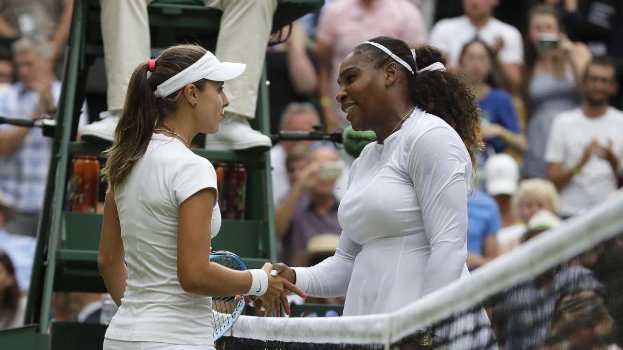Serena Williams of the United States shakes hands with Bulgaria's Viktoriya Tomova after defeating her in their women's singles match.