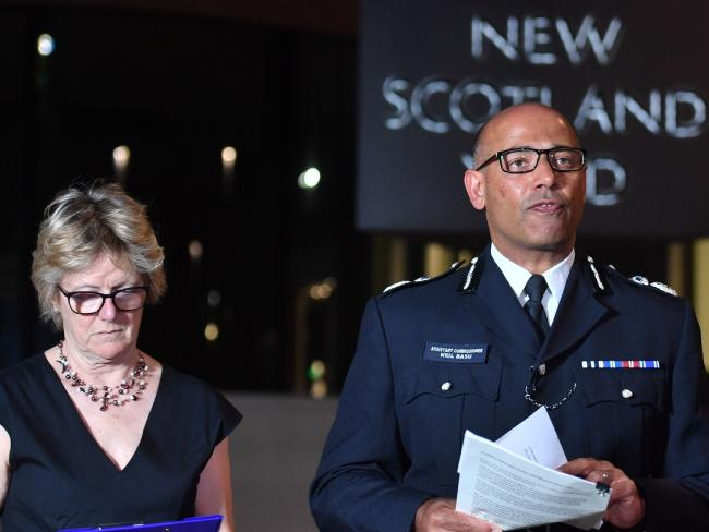 The UK's head of counter-terrorism policing Neil Basu, right, and chief medical officer for England Dame Sally Davies speaking at a news conference at New Scotland Yard in London. Picture: AFP