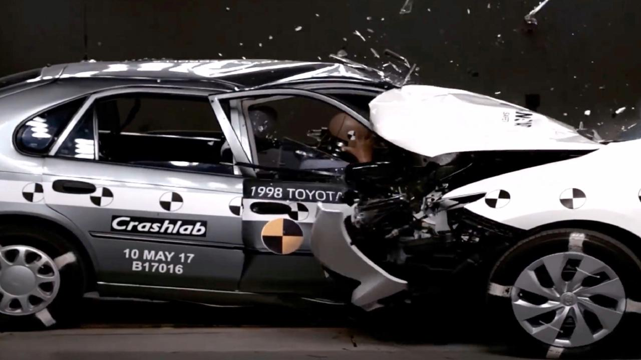 New road safety advertisement highlights the different levels of protection in newer and older cars. Picture: Supplied.