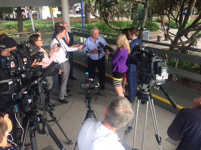 Cr John Connolly addresses media over the collapse of the Brisbane Rd carpark deal.