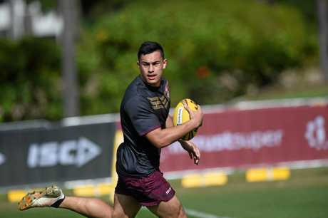 Gympie's Tino Fa'asuamaleaui in Maroons training camp, prepares for the clash on Wednesday.