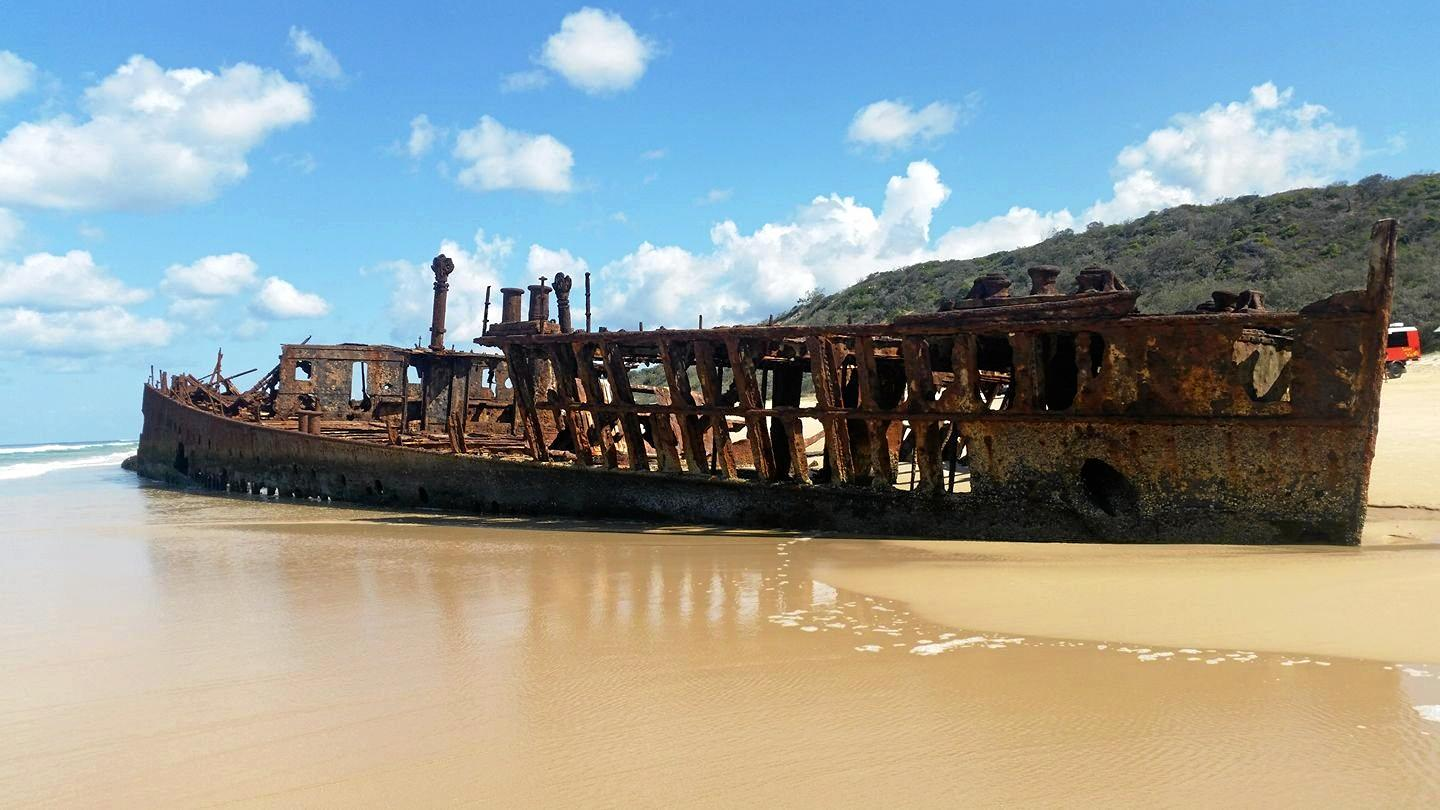 MAHENO: The wreck of the Maheno on Fraser Island.