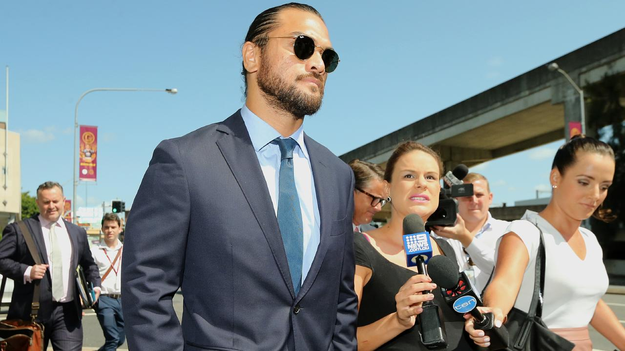 Karmichael Hunt leaves court in February after having his drugs charge dropped. Picture: AAP