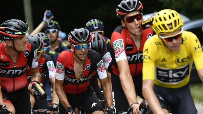 Richie Porte (BMC centre) stalks Chris Froome (yellow jersey). Picture: AFP
