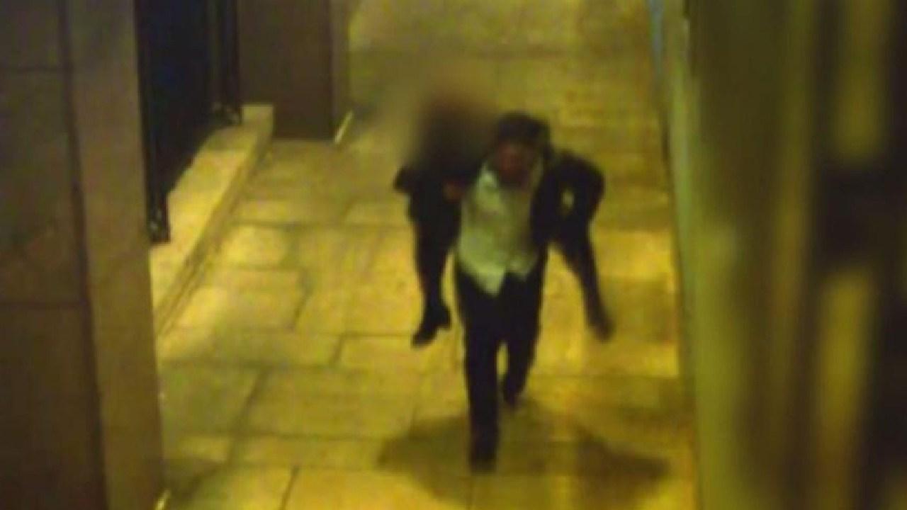 CCTV shows Sanhat Naker carrying the drunken victim on his shoulders.