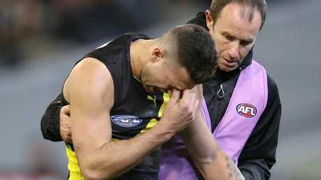 Jack Graham injured his shoulder in the win over the Crows. Picture: Michael Klein