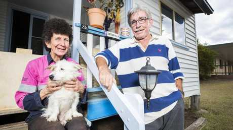 Judith and Gerry Butler of Mundubbera (with their dog Daphne) who lived and worked at Allies Creek for nearly eight years in the 1980s remember the mill as a well run operation and an enjoyable tight knit community. Picture: Lachie Millard