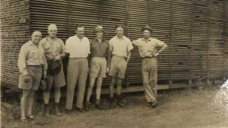 Allies Creek mill from left, Eric Crooke, Fred Straker (Frank's father), Alan Trist. unknown forestry officer, Frank Straker, Bill Ryan (mill manager). Picture: John Crooke
