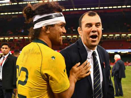 Karmichael Hunt shares a joke with Michael Cheika last November. Picture: Getty Images