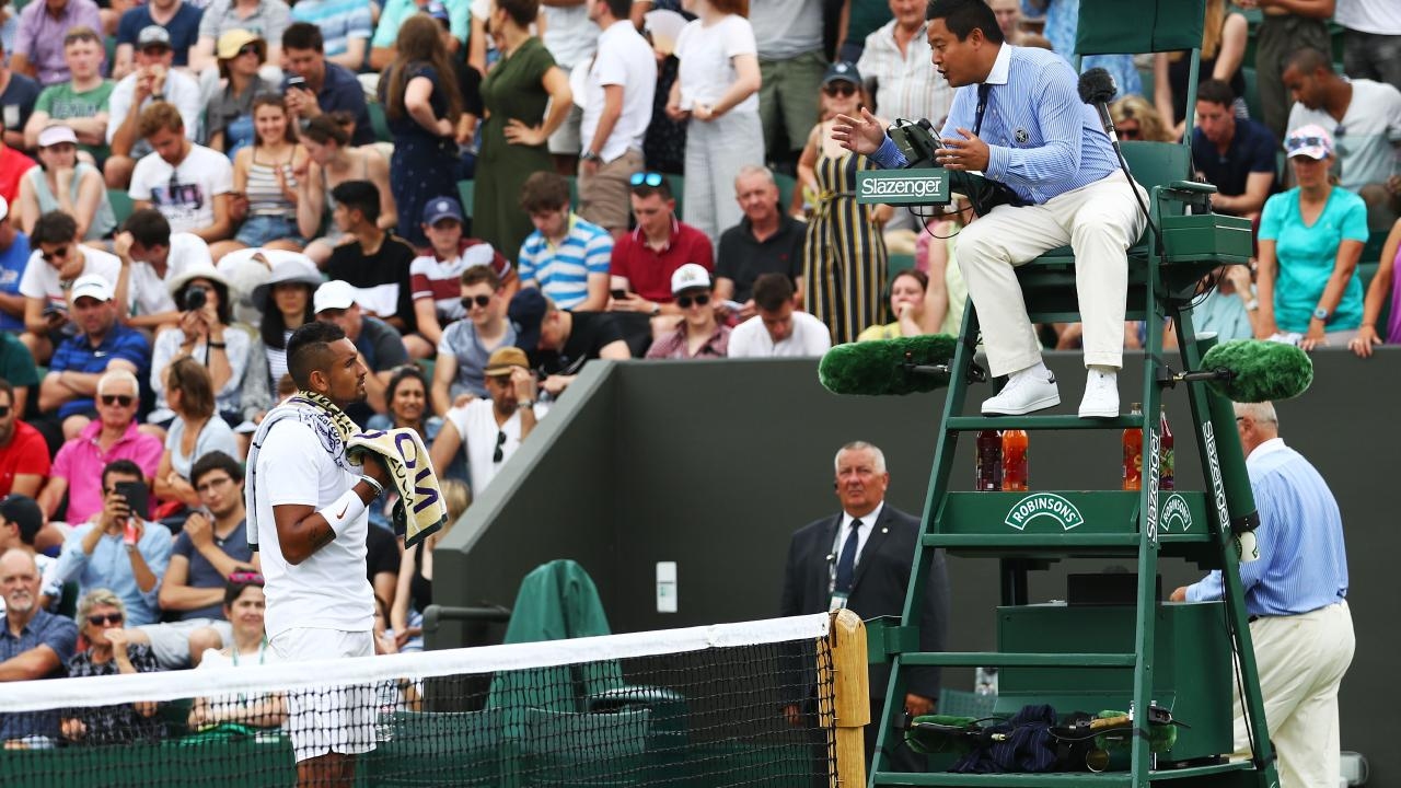 Nick Kyrgios argues a point with the chair umpire.