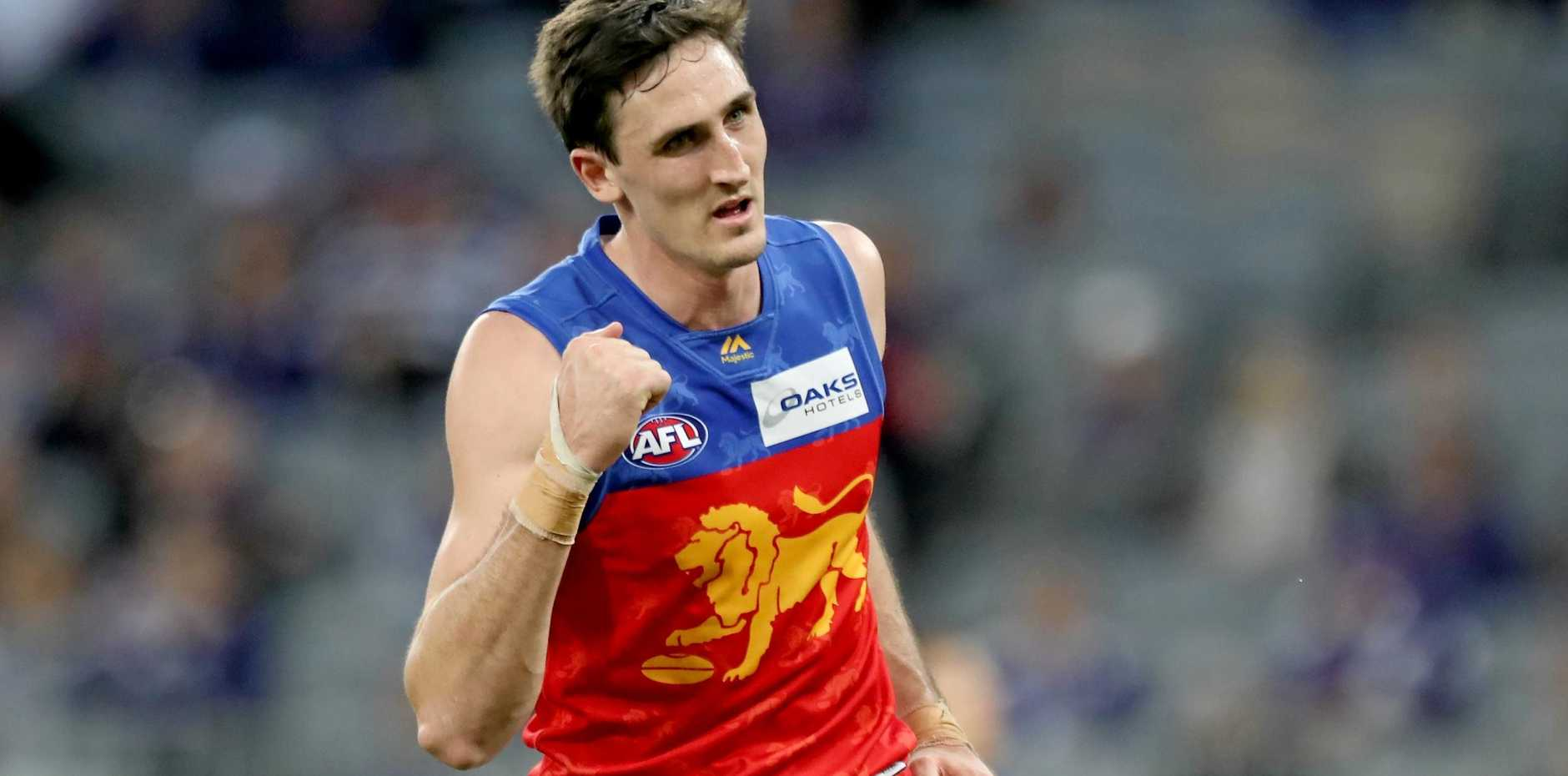 Oscar McInerney celebrates after kicking a goal against Fremantle in Perth last Sunday. Picture: Richard Wainwright/AAP