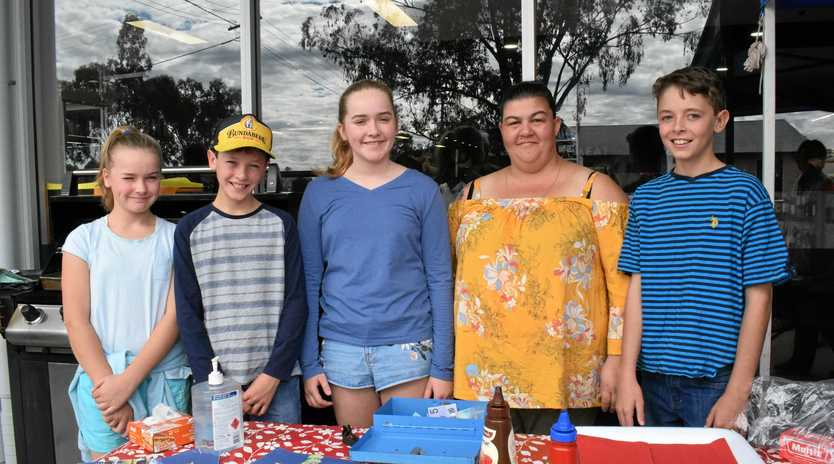 STORE OPENS: Ella Gunther, Brodie Neal, Lucy Gunther, Kate Mammino-Walker, and Darcy Neal at the Tara Foodworks opening on Saturday.